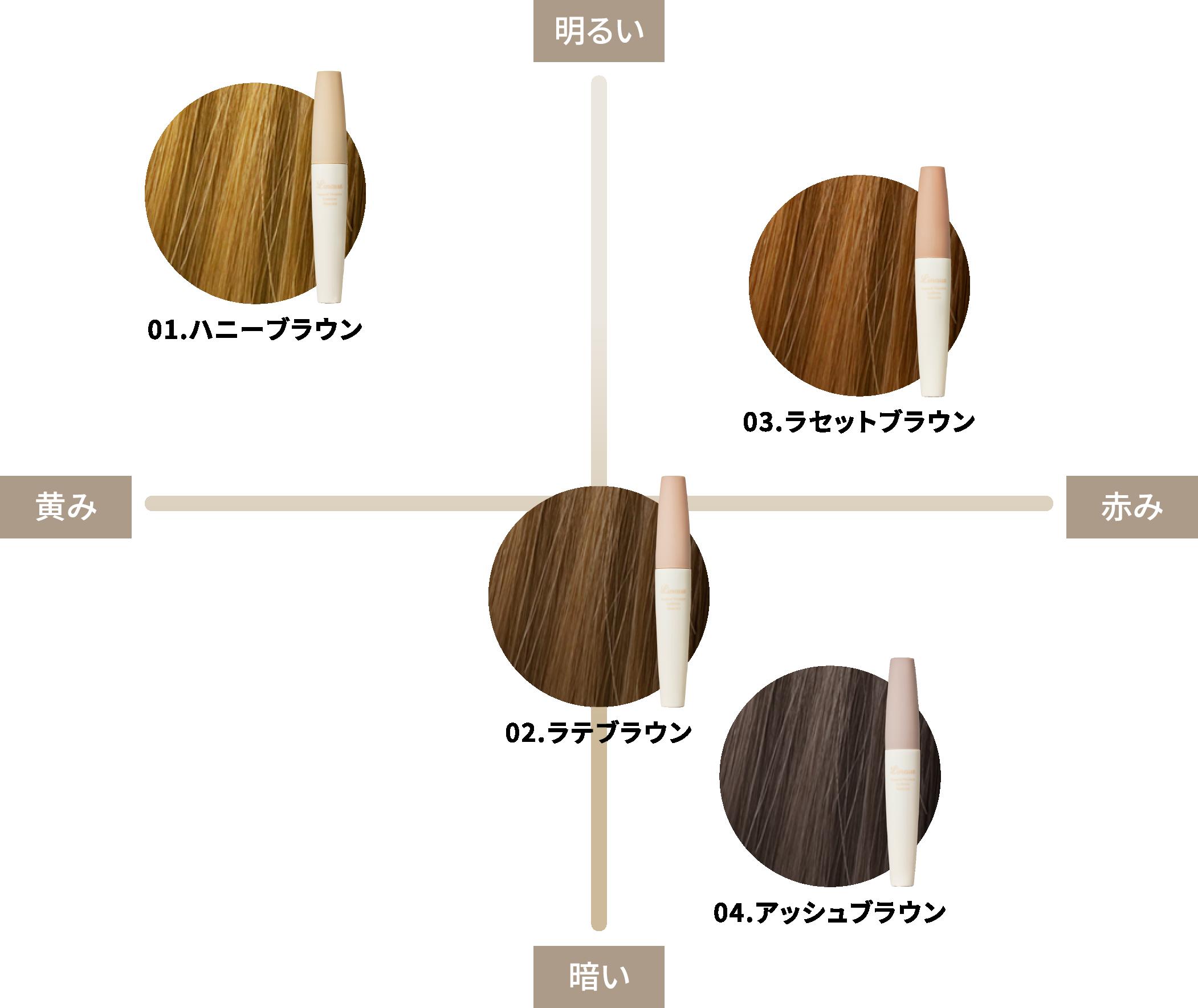 髪色に合わせて選べるcolor